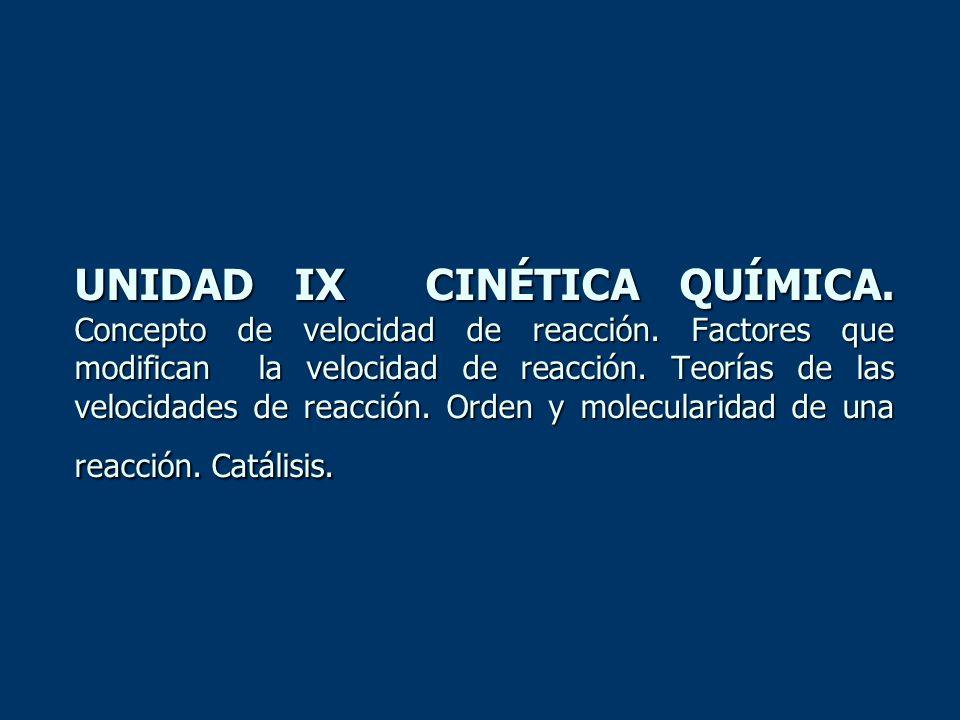 UNIDAD IX CINÉTICA QUÍMICA. Concepto de velocidad de reacción