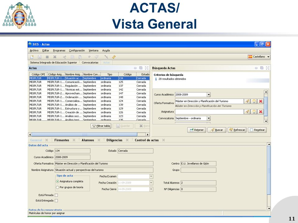 ACTAS/ Vista General 11 11
