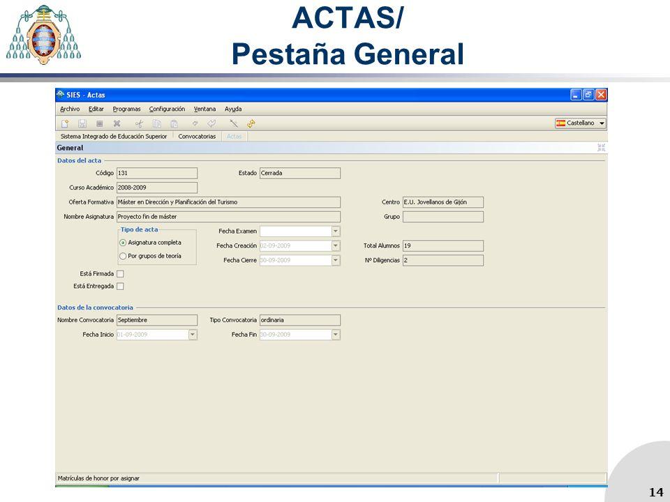 ACTAS/ Pestaña General