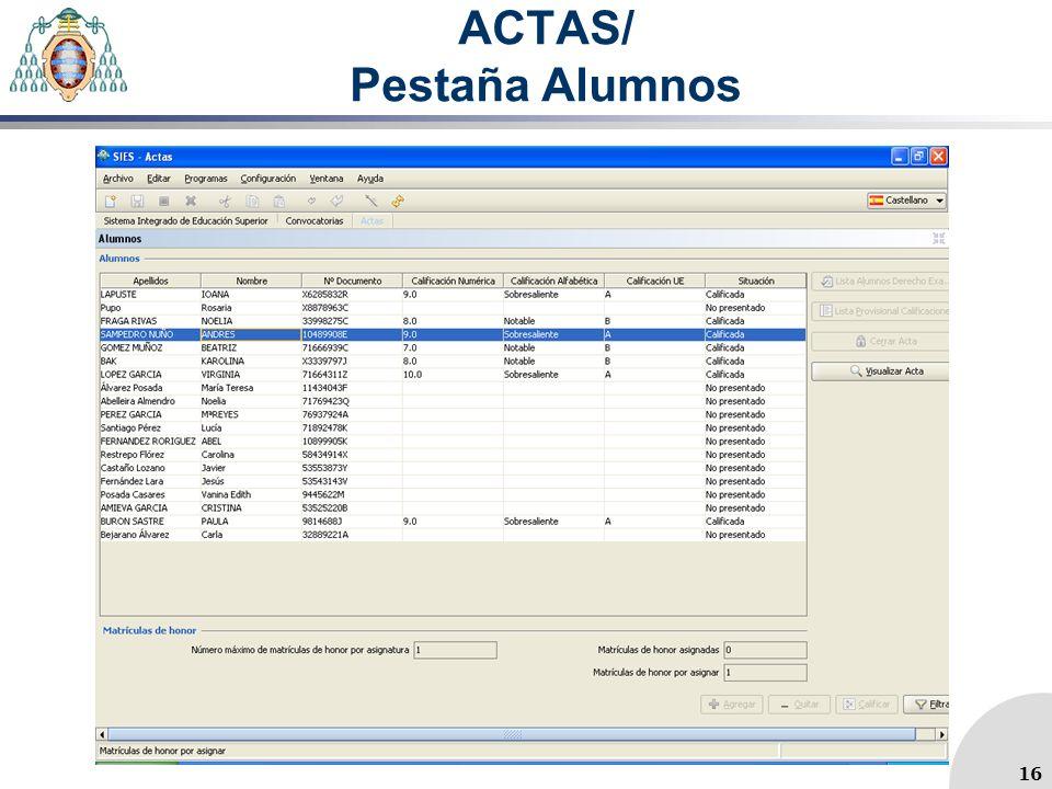 ACTAS/ Pestaña Alumnos
