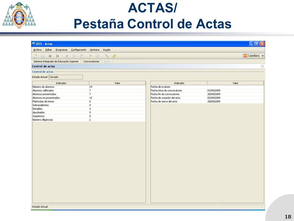 ACTAS/ Pestaña Control de Actas