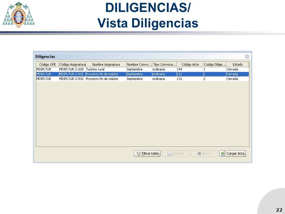 DILIGENCIAS/ Vista Diligencias
