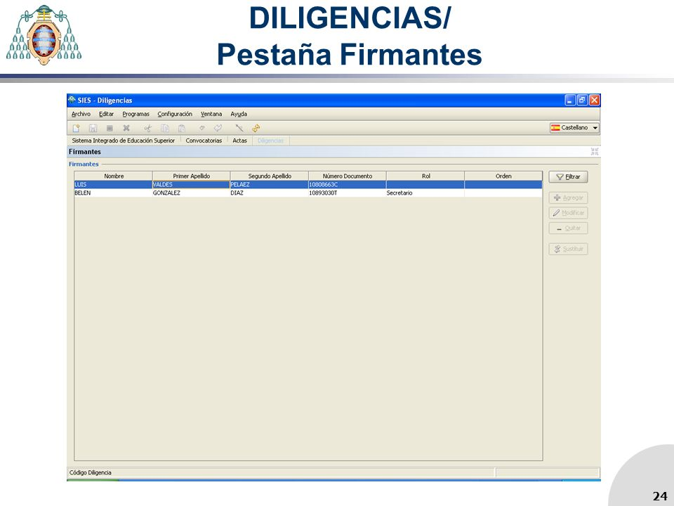 DILIGENCIAS/ Pestaña Firmantes