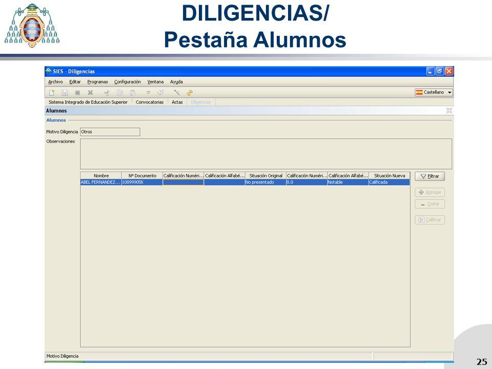 DILIGENCIAS/ Pestaña Alumnos