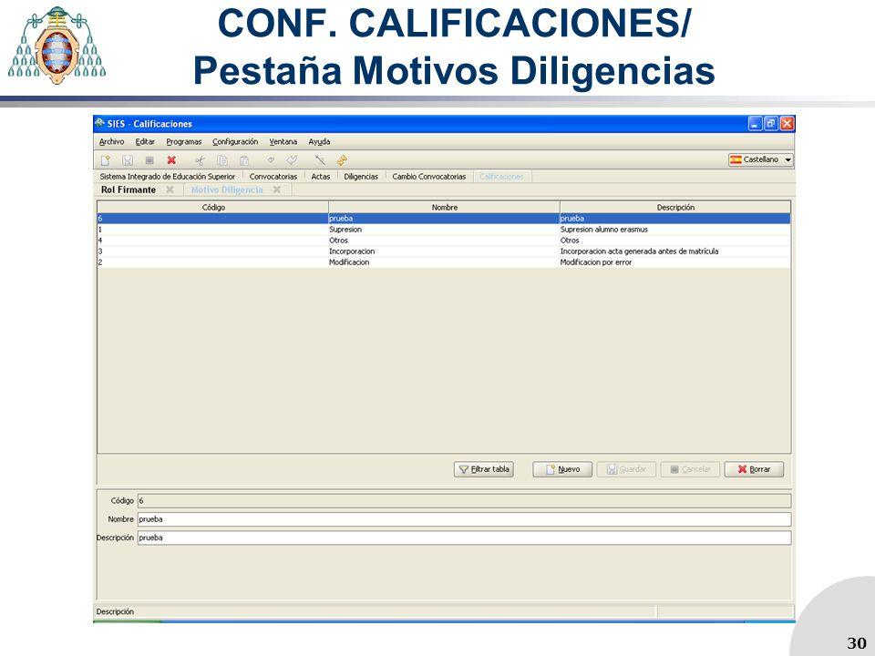 CONF. CALIFICACIONES/ Pestaña Motivos Diligencias