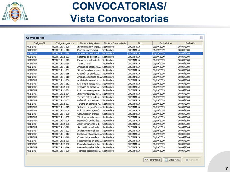 CONVOCATORIAS/ Vista Convocatorias