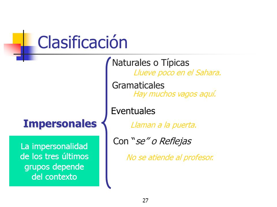 La impersonalidad de los tres últimos grupos depende del contexto