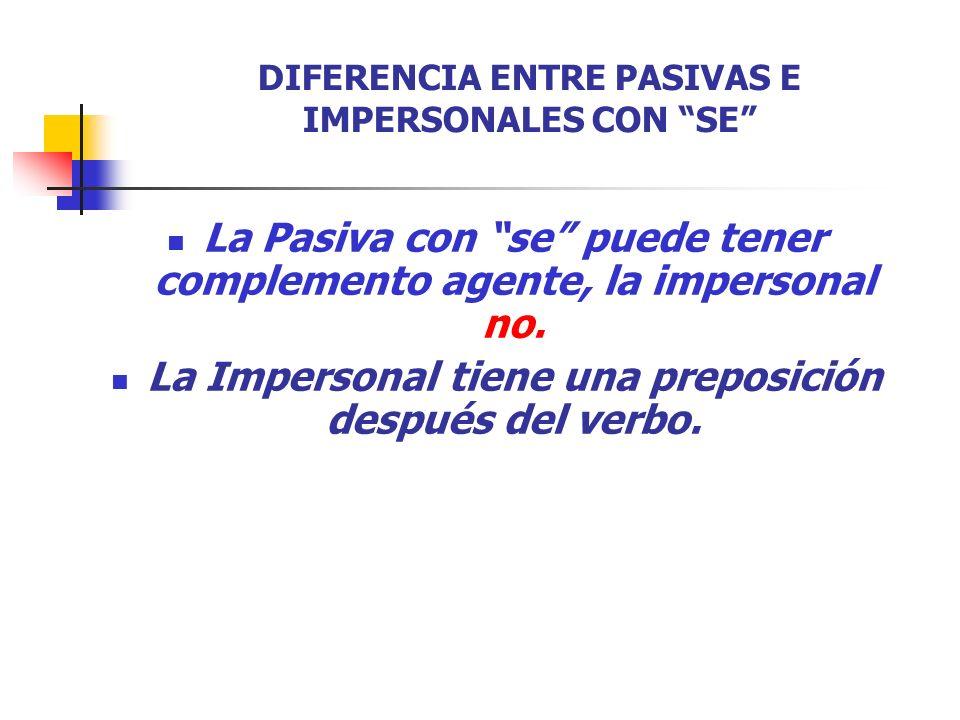DIFERENCIA ENTRE PASIVAS E IMPERSONALES CON SE