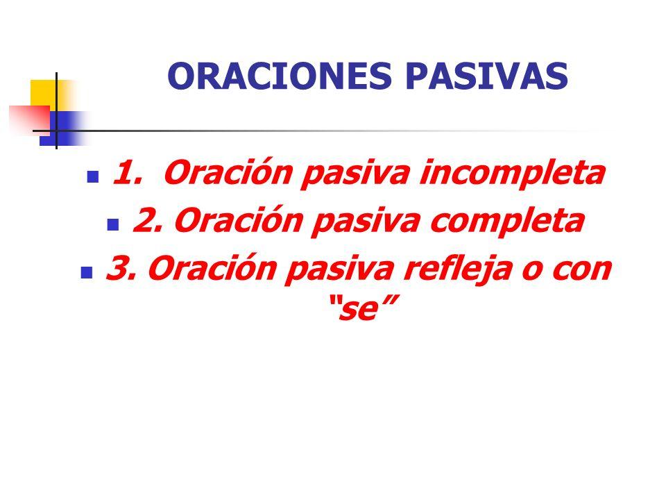 ORACIONES PASIVAS 1. Oración pasiva incompleta