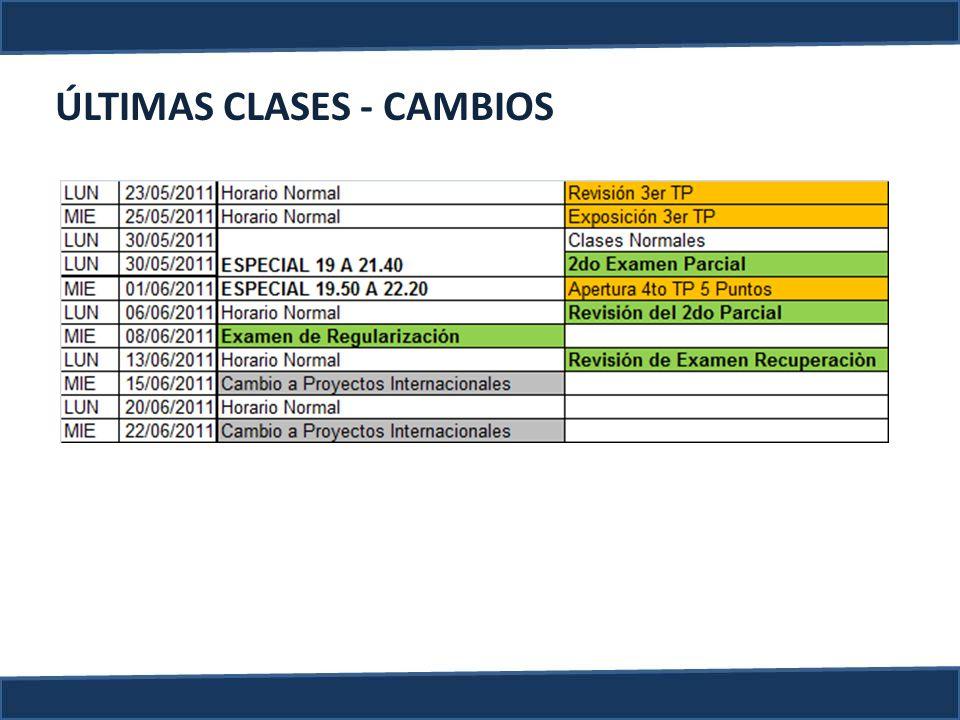 ÚLTIMAS CLASES - CAMBIOS