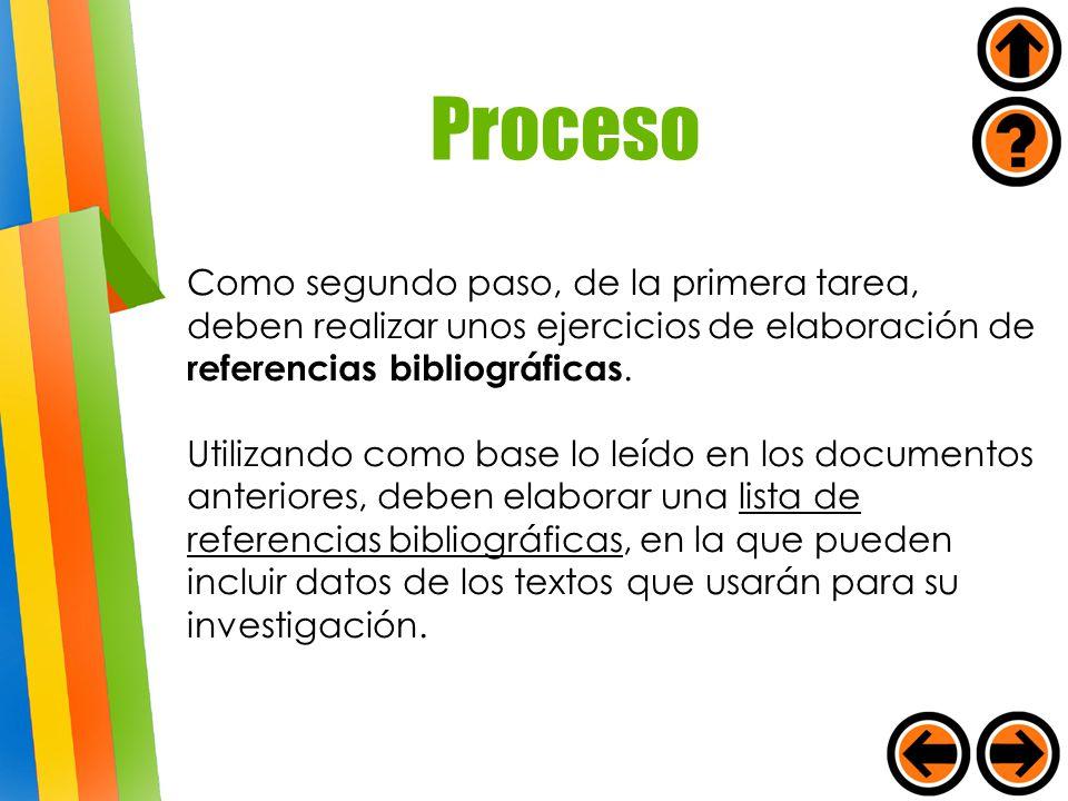 Proceso Como segundo paso, de la primera tarea, deben realizar unos ejercicios de elaboración de referencias bibliográficas.