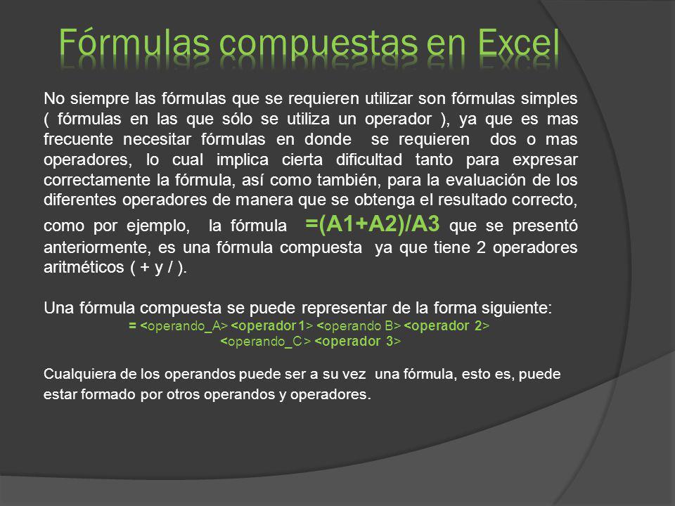 Fórmulas compuestas en Excel