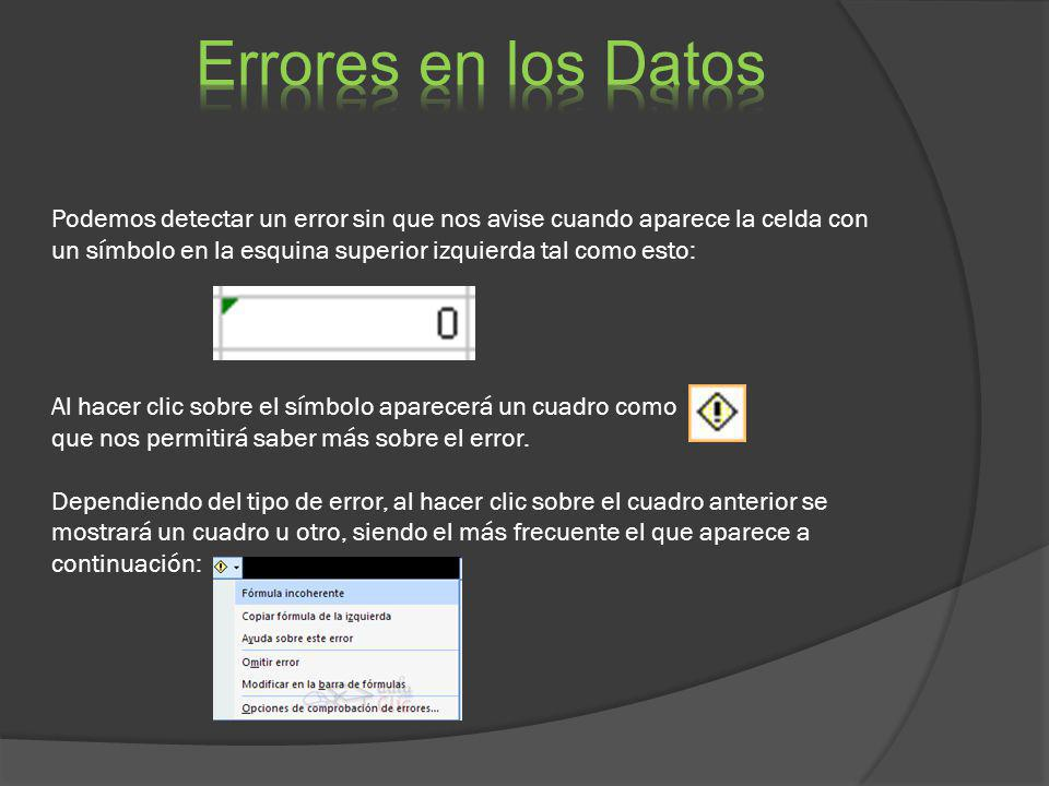 Errores en los Datos
