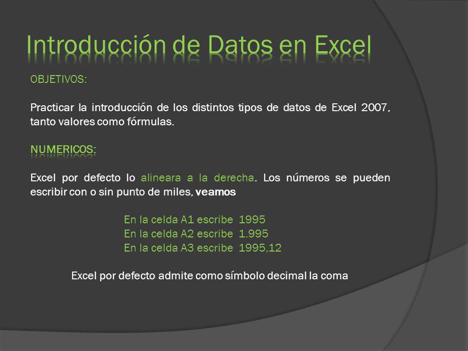 Introducción de Datos en Excel