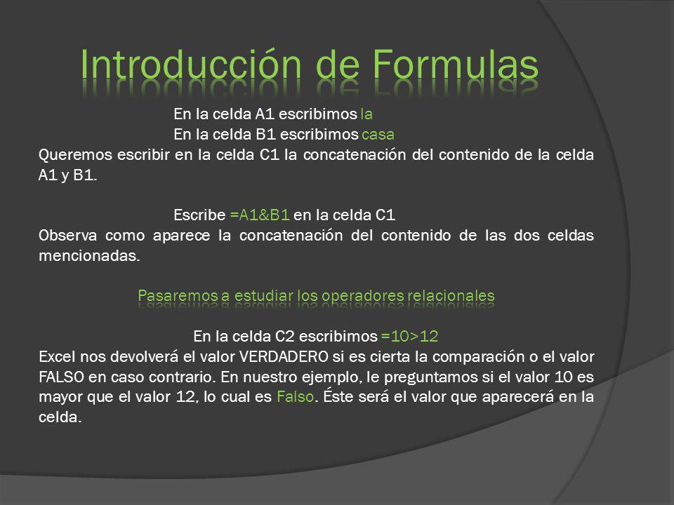 Introducción de Formulas