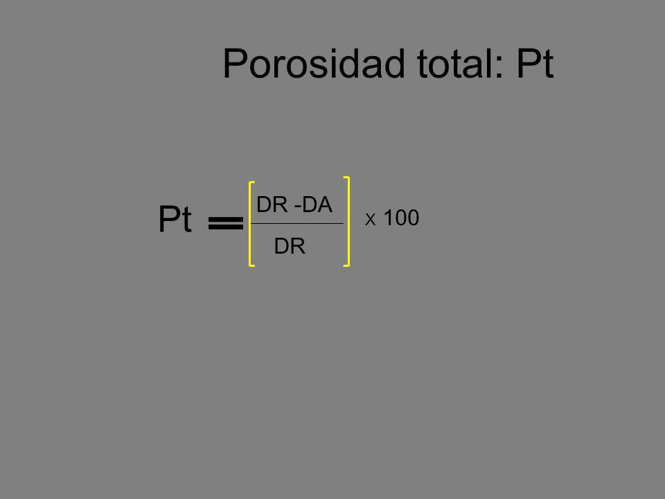 Porosidad total: Pt DR -DA DR X 100 Pt