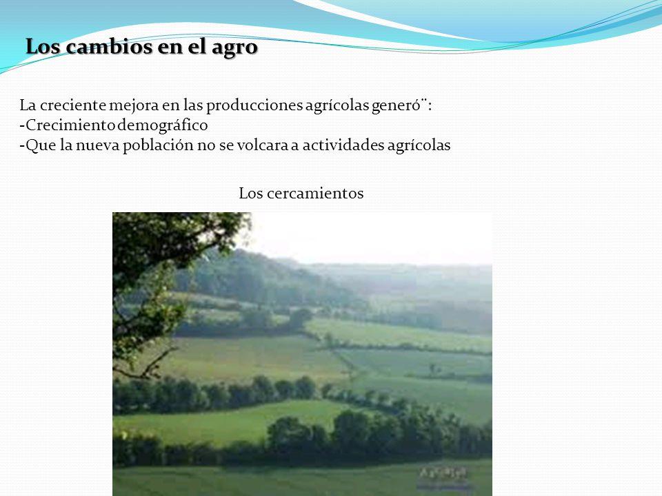 Los cambios en el agro La creciente mejora en las producciones agrícolas generó¨: Crecimiento demográfico.