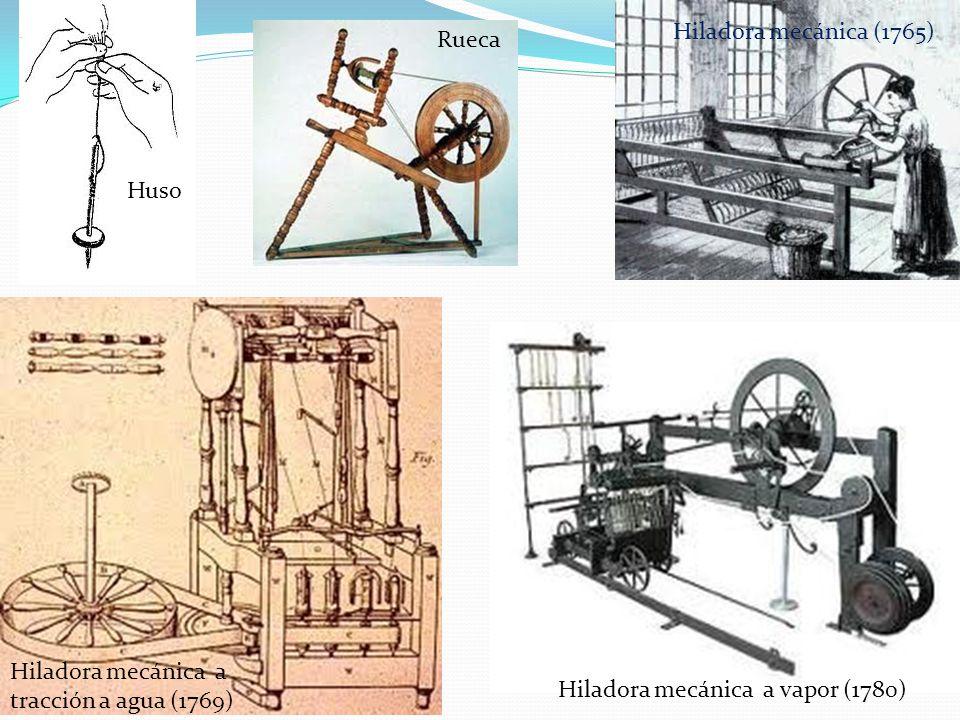 Hiladora mecánica (1765) Rueca. Huso.