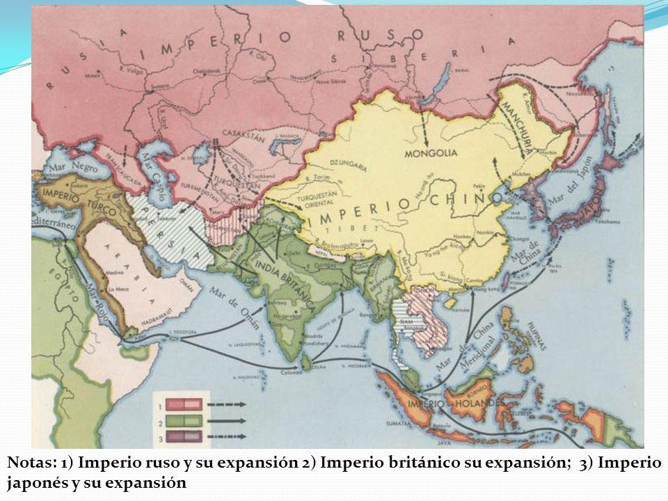 Notas: 1) Imperio ruso y su expansión 2) Imperio británico su expansión; 3) Imperio japonés y su expansión