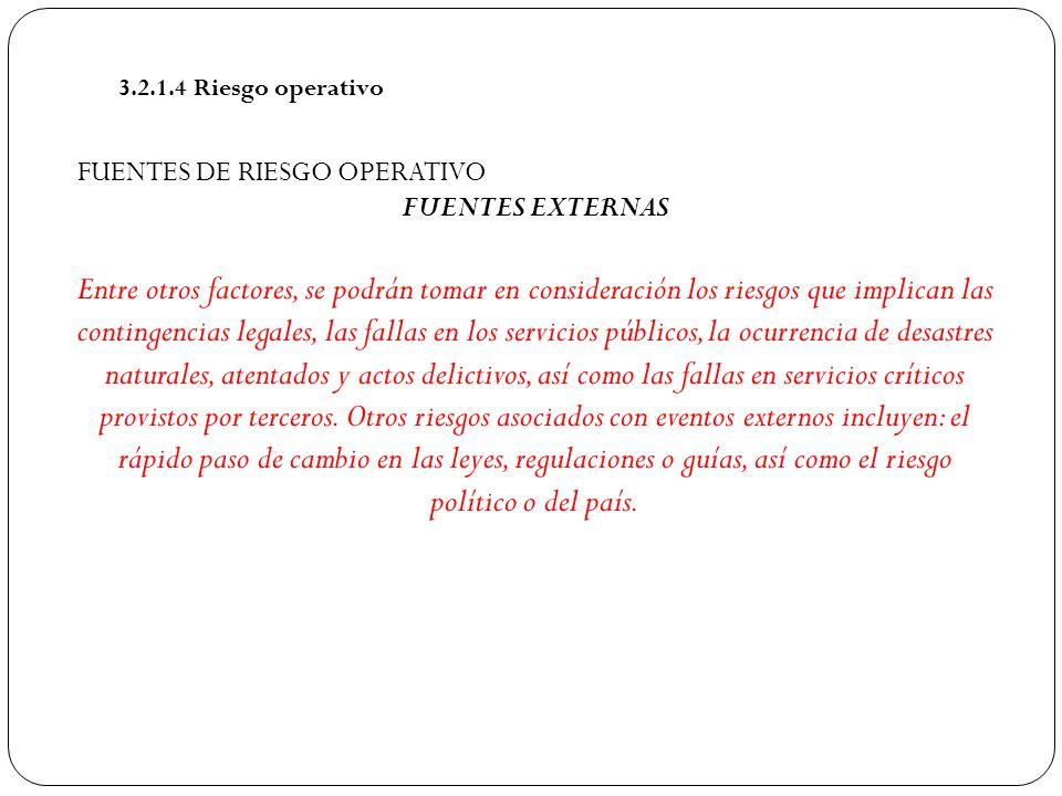 3.2.1.4 Riesgo operativo FUENTES DE RIESGO OPERATIVO. FUENTES EXTERNAS.