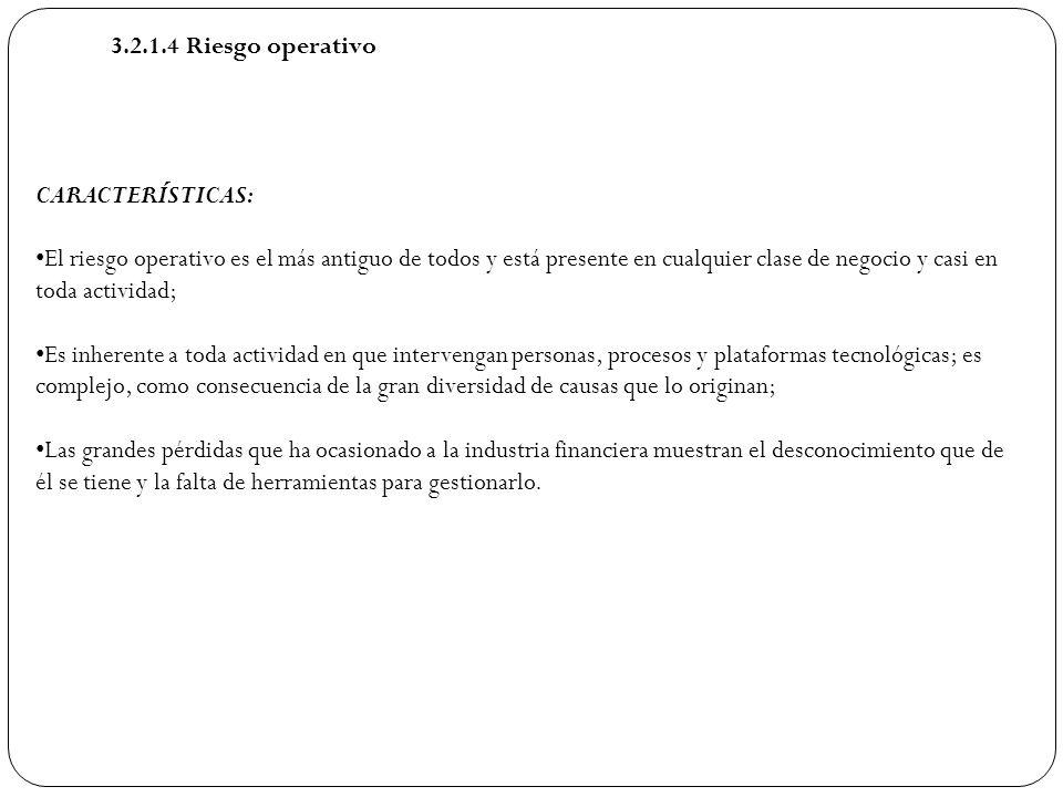 3.2.1.4 Riesgo operativo CARACTERÍSTICAS: