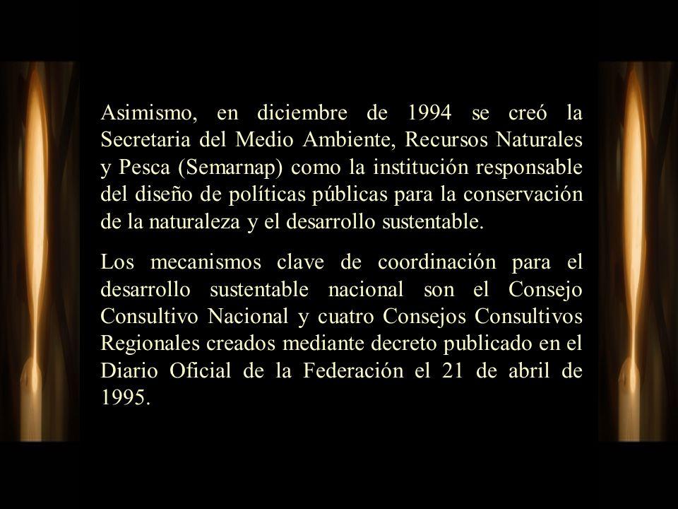 Asimismo, en diciembre de 1994 se creó la Secretaria del Medio Ambiente, Recursos Naturales y Pesca (Semarnap) como la institución responsable del diseño de políticas públicas para la conservación de la naturaleza y el desarrollo sustentable.