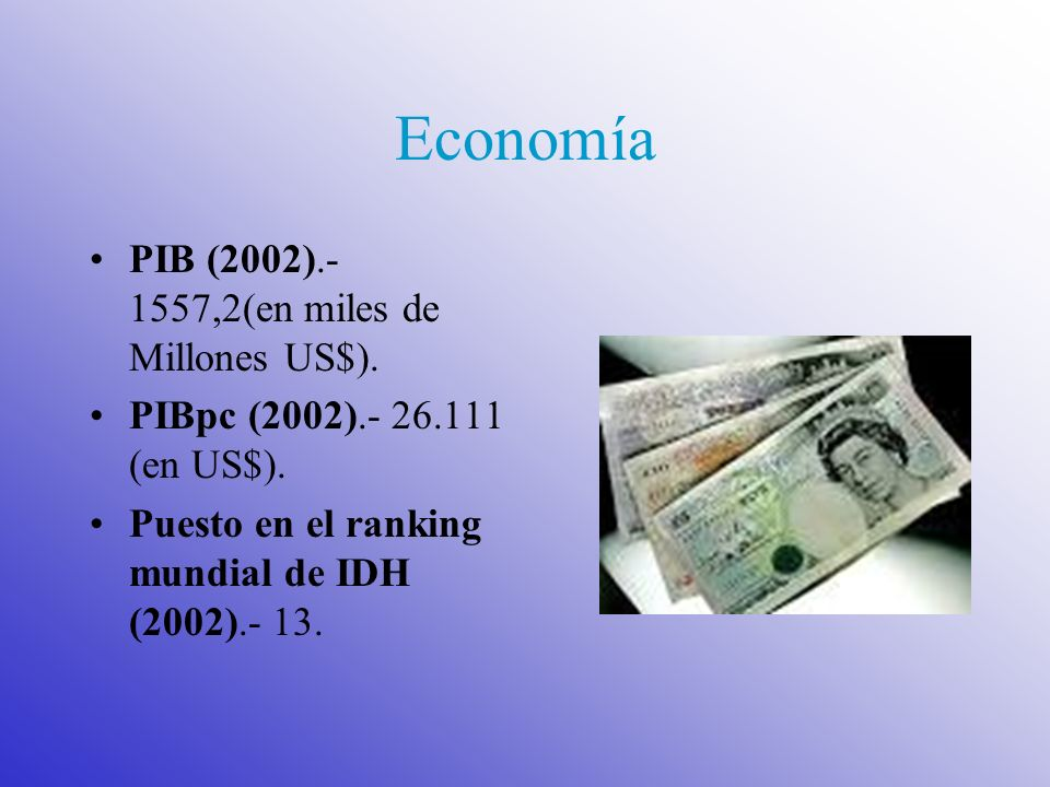 Economía PIB (2002).- 1557,2(en miles de Millones US$).