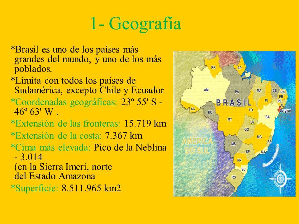 1- Geografía*Brasil es uno de los países más grandes del mundo, y uno de los más poblados.