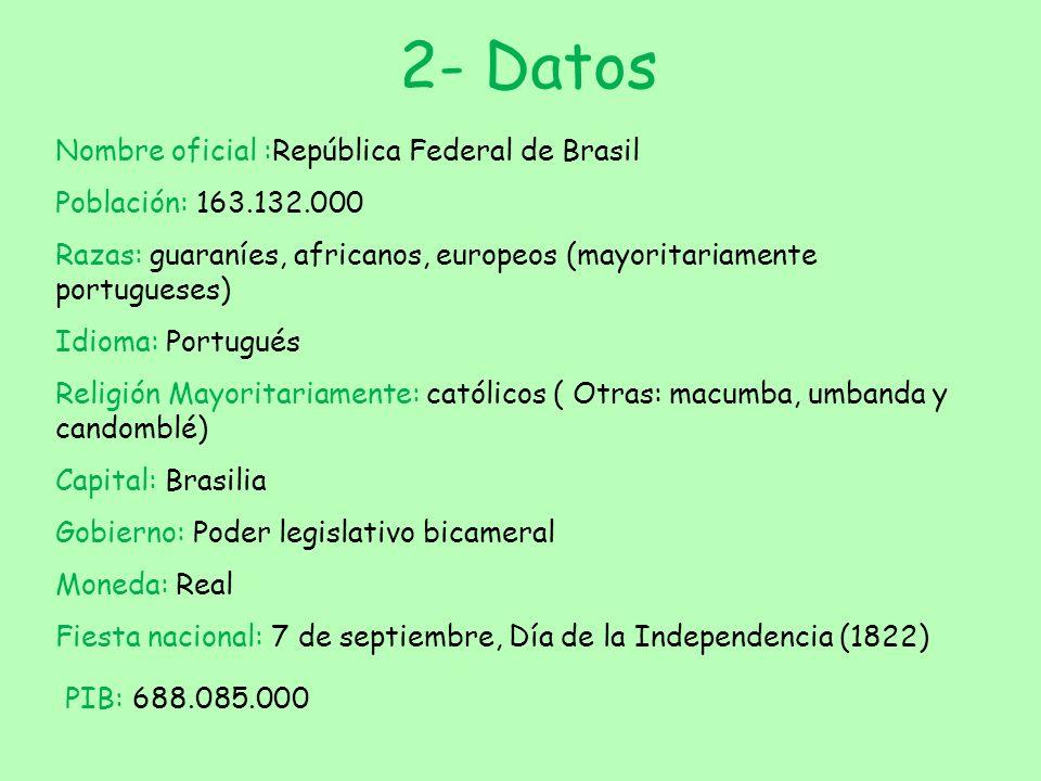 2- Datos PIB: 688.085.000 Nombre oficial :República Federal de Brasil
