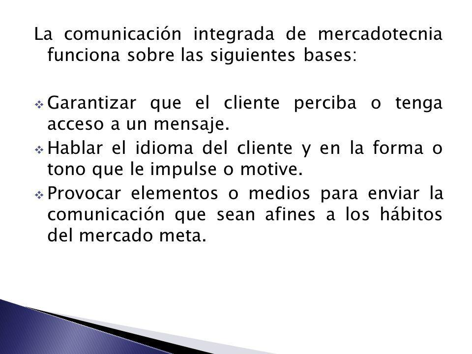 La comunicación integrada de mercadotecnia funciona sobre las siguientes bases: