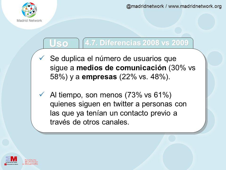 Uso 4.7. Diferencias 2008 vs 2009. Se duplica el número de usuarios que sigue a medios de comunicación (30% vs 58%) y a empresas (22% vs. 48%).