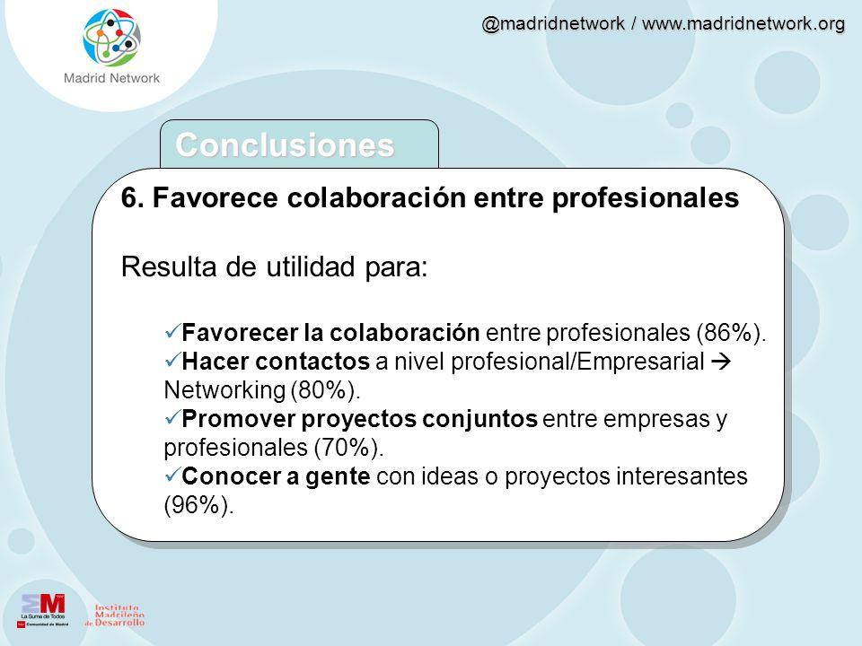 Conclusiones 6. Favorece colaboración entre profesionales