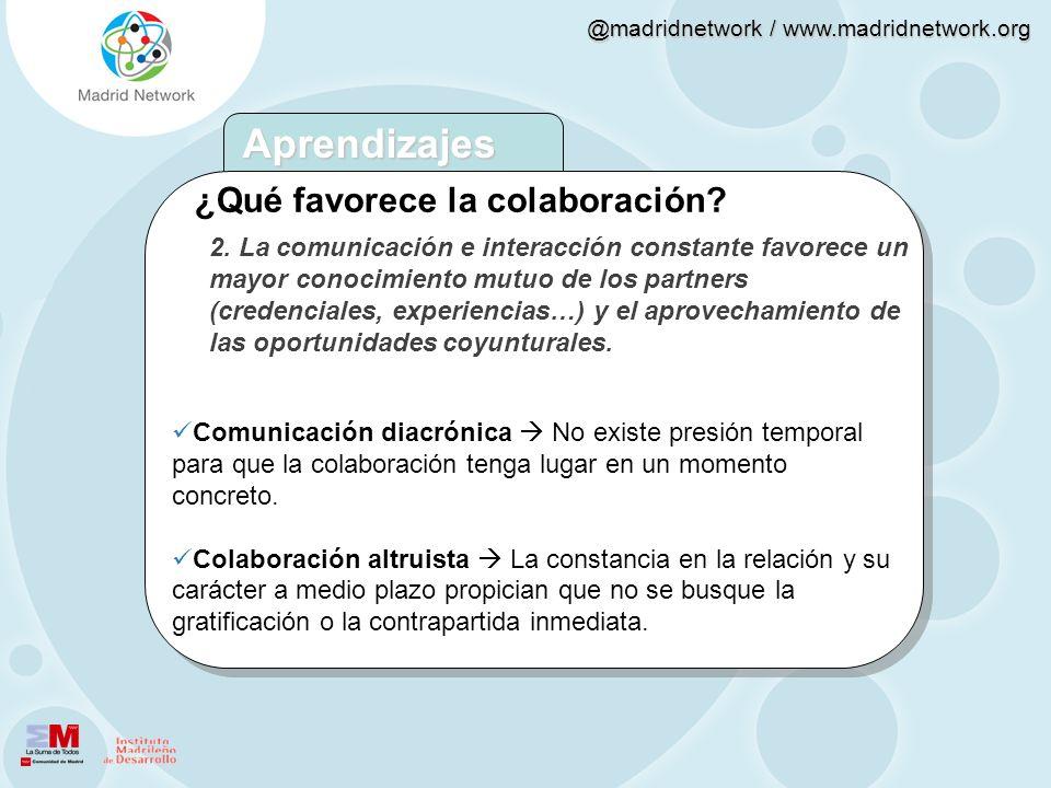 Aprendizajes ¿Qué favorece la colaboración