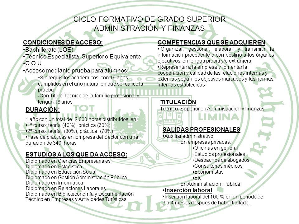 CICLO FORMATIVO DE GRADO SUPERIOR ADMINISTRACIÓN Y FINANZAS
