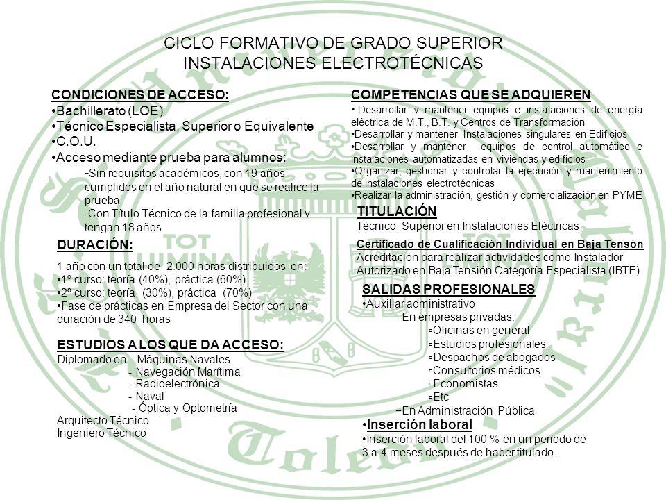 CICLO FORMATIVO DE GRADO SUPERIOR INSTALACIONES ELECTROTÉCNICAS