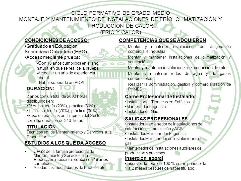 CICLO FORMATIVO DE GRADO MEDIO MONTAJE Y MANTENIMIENTO DE INSTALACIONES DE FRÍO, CLIMATIZACIÓN Y PRODUCCIÓN DE CALOR (FRÍO Y CALOR)
