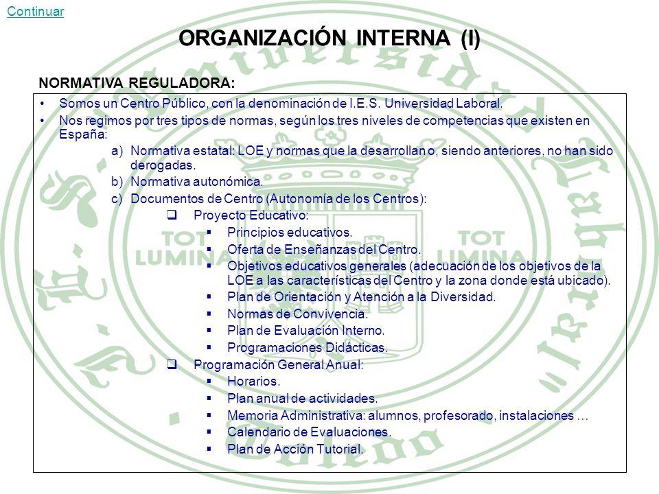 ORGANIZACIÓN INTERNA (I)