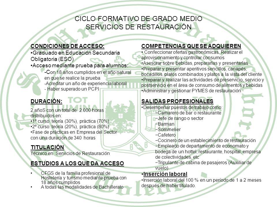 CICLO FORMATIVO DE GRADO MEDIO SERVICIOS DE RESTAURACIÓN