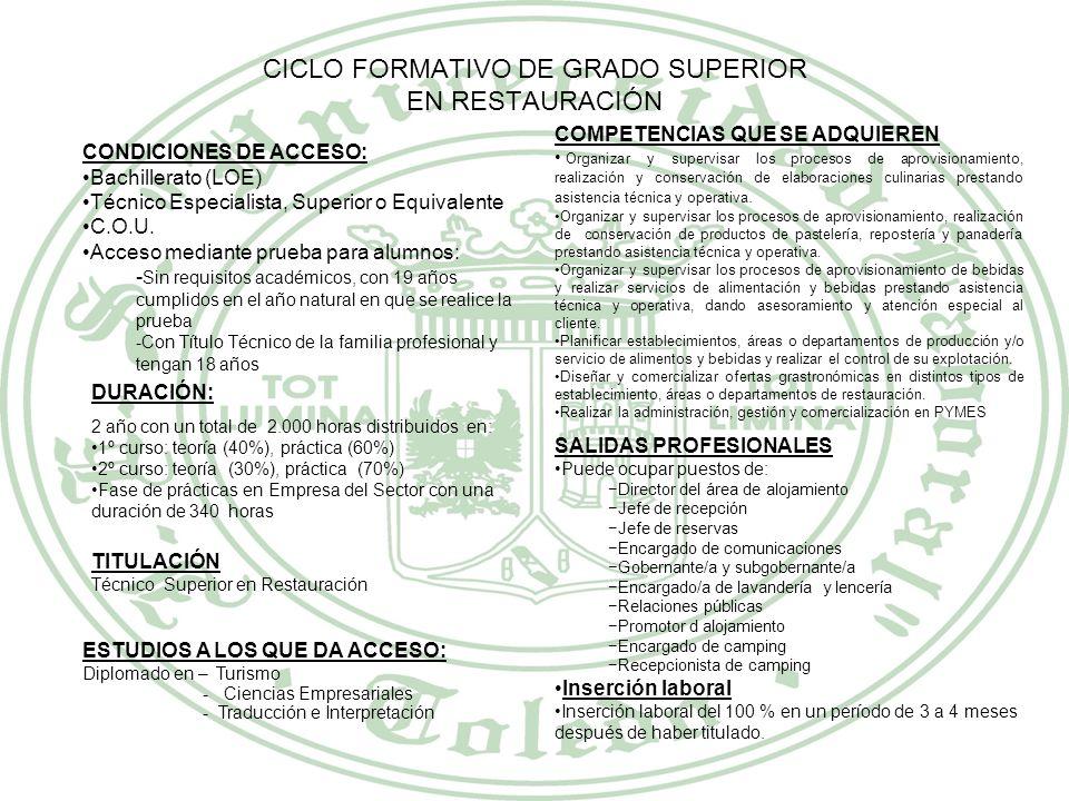 CICLO FORMATIVO DE GRADO SUPERIOR EN RESTAURACIÓN