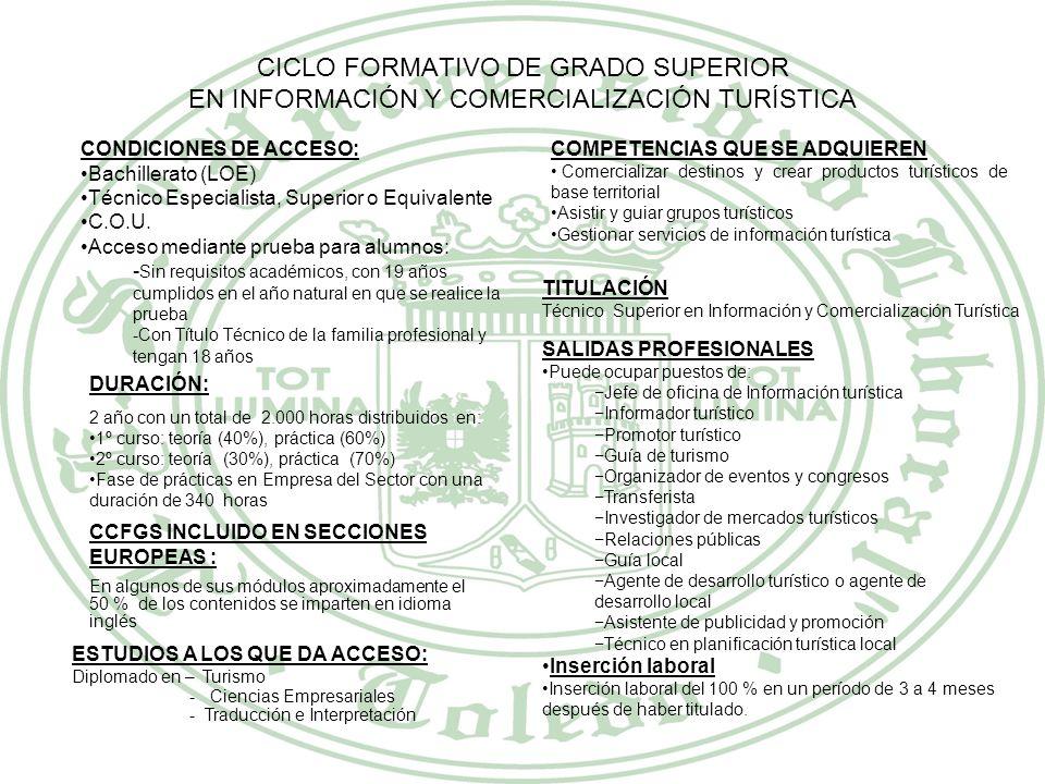 CICLO FORMATIVO DE GRADO SUPERIOR EN INFORMACIÓN Y COMERCIALIZACIÓN TURÍSTICA