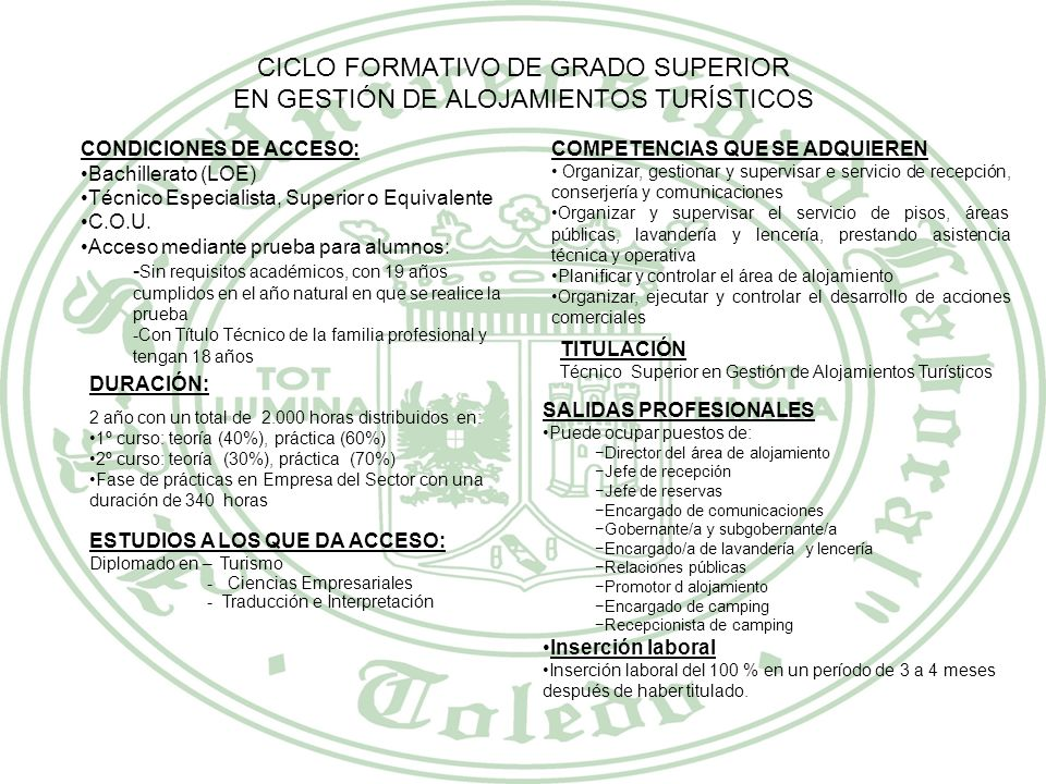CICLO FORMATIVO DE GRADO SUPERIOR EN GESTIÓN DE ALOJAMIENTOS TURÍSTICOS