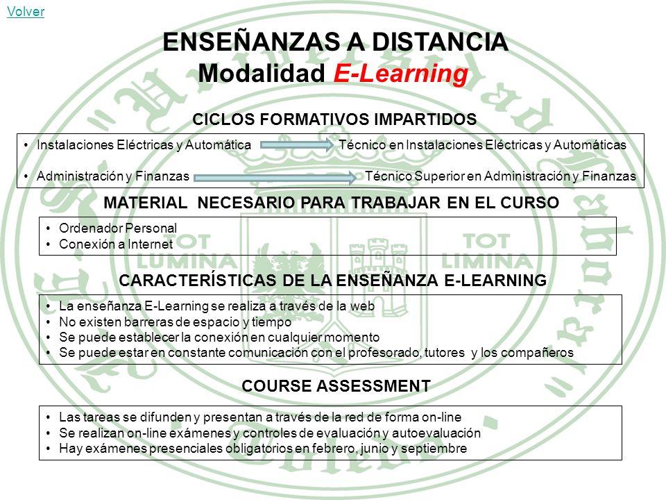 Modalidad E-Learning ENSEÑANZAS A DISTANCIA