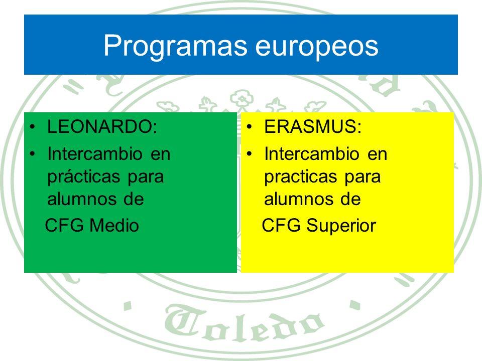 Programas europeos LEONARDO: Intercambio en prácticas para alumnos de