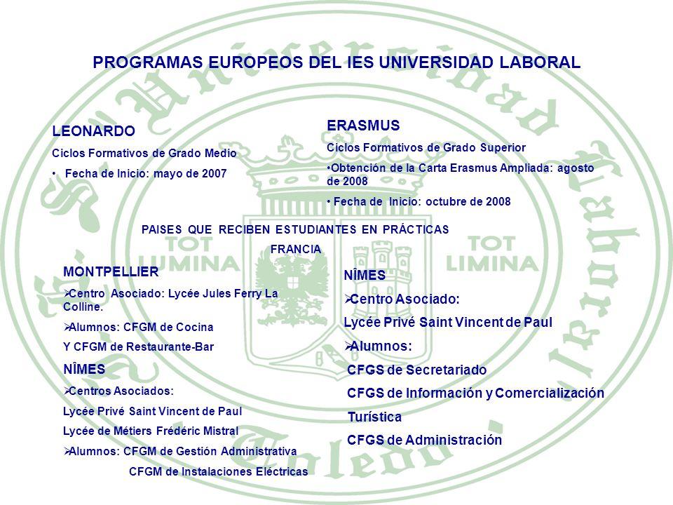 PROGRAMAS EUROPEOS DEL IES UNIVERSIDAD LABORAL