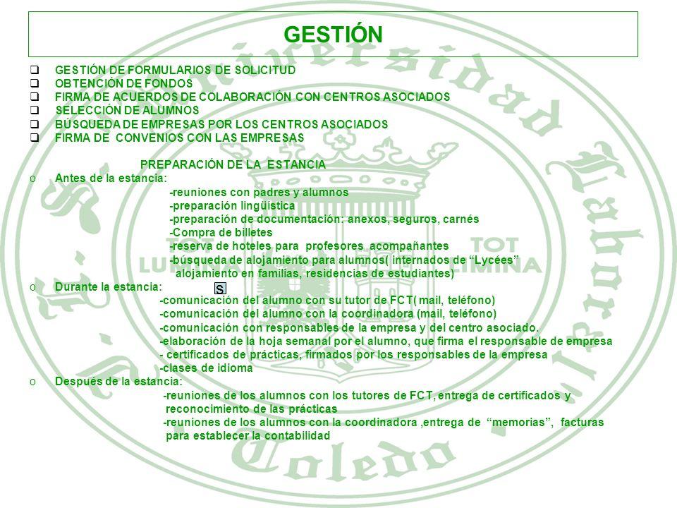 GESTIÓN s GESTIÓN DE FORMULARIOS DE SOLICITUD OBTENCIÓN DE FONDOS