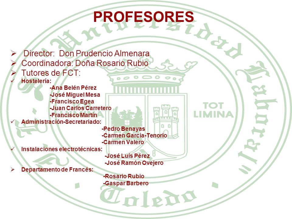 PROFESORES Director: Don Prudencio Almenara