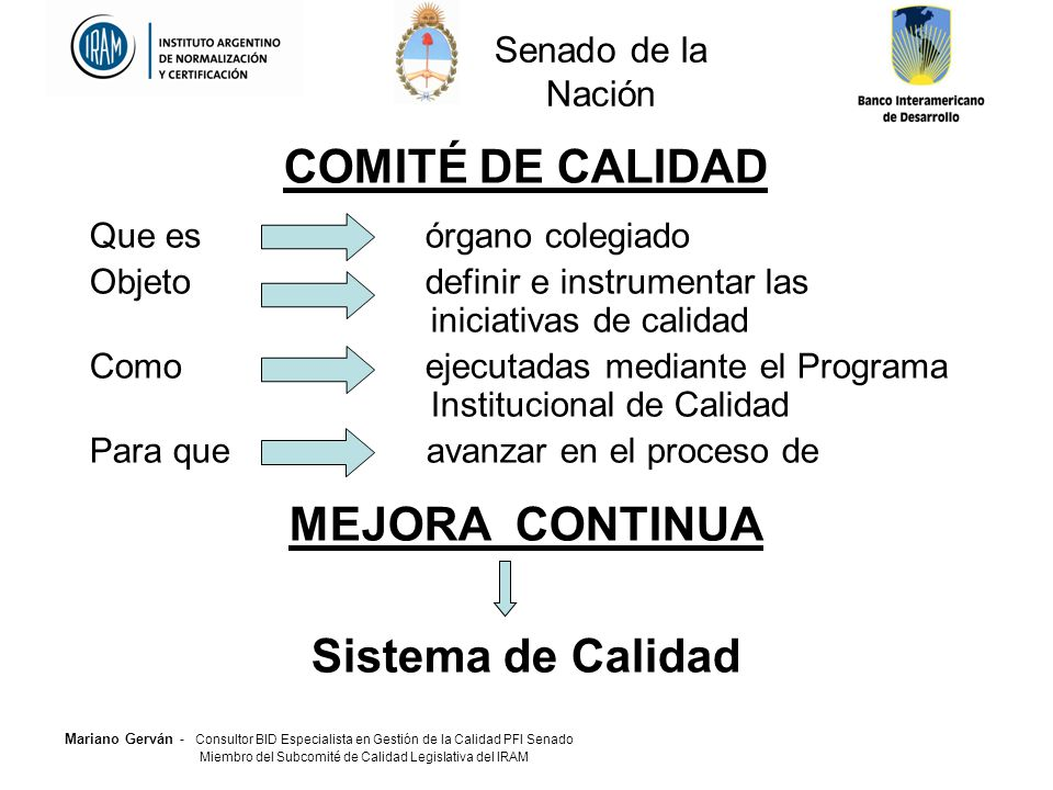 COMITÉ DE CALIDAD MEJORA CONTINUA Sistema de Calidad