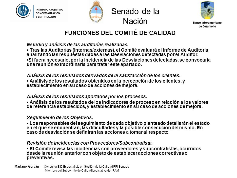 FUNCIONES DEL COMITÉ DE CALIDAD