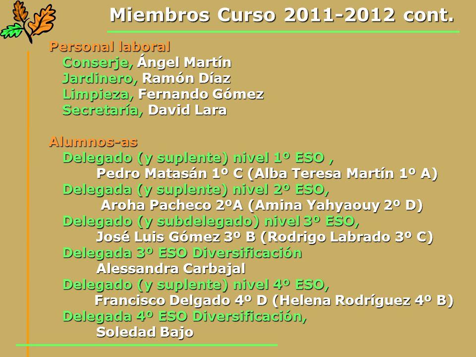 Miembros Curso 2011-2012 cont. Personal laboral Conserje, Ángel Martín