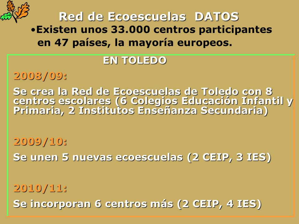 Red de Ecoescuelas DATOS
